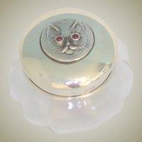 Sterling Silver Cat Lid Glass Vanity Jar c1929