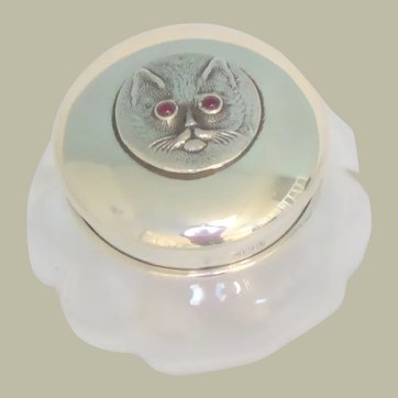 Sterling Silver Cat Lid Glass Vanity Jar c1929