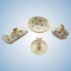 Antique French Porcelain Dolls Dressing Table Set
