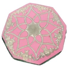 Pink & Silver Inlaid Pin Wheel For Sewing Box c1840