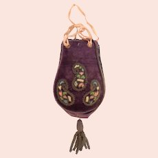 Purple Velvet Embroidered Georgian Coin Purse
