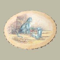 Hand Painted Cats Silk Pinwheel c1880