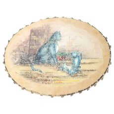 Hand Painted Cats Silk Pinwheel c1880