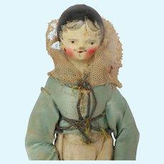 Rare Male Grodnertal Doll In Original Silk Clothing c1830