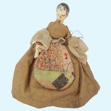 Antique Grodnertal Wooden Doll Fantastic Costume With Pocket c1800
