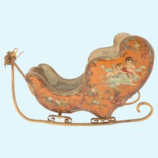 Lovely French Miniature Sleigh  Tole Peinte in the Vernis Martin Style