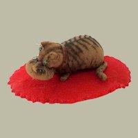 Rare Victorian Velvet Cat Penwipe c1860