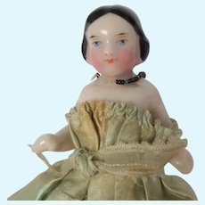 """Nice Pink Tint China Doll For Dolls House 3.5"""" high c1860"""