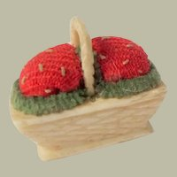 Tiny Strawberry Pincushion Basket c1860