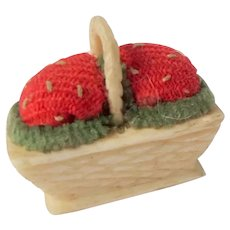 Tiny Strawberry Pincushion Basket c1860