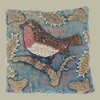 Lovely Small Beadwork Robin Cushion Dated 1902