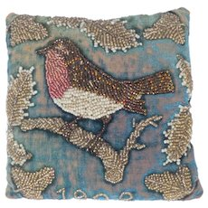 Lovely Small Beadwork Robin Cushion Dated 1902