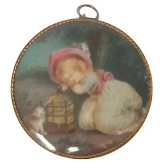 Delightful Antique Portrait Miniature Child With Cat c1860