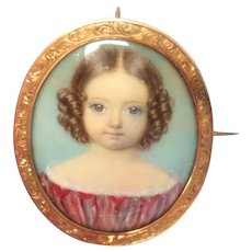 Stunning Mid 19th Century Mourning Portrait Miniature With Provenance 1851