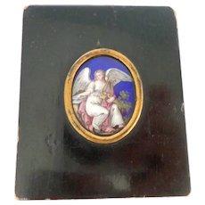 Antique Italian Enamelled Miniature Of An Angel c1840