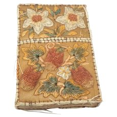 Native American Embroidered Birch Bark/Moose Hair Card Case 19th C