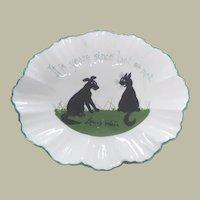 Louis Wain Pottery Dish Dog & Cat c1920