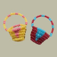 Teeny Tiny Antique Beadwork Baskets For Dolls House