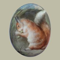 Minton Oval Miniature Squirrel Handpainted Porcelain c1890
