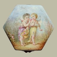 Hexagonal Enamel Box Cupid & Psyche c1880
