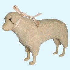 Rare Early Steiff Sheep Wool Plush & Felt Face