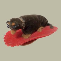 Antique Pen Wipe Velvet Dachshund Dog c1860