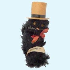 """Cute Black Mohair Mascot Cat """"Darby"""" In Top Hat c1930"""