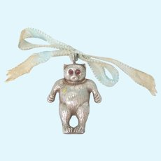 Sterling Silver Teddy Bear Rattle Jewel Eyes Hallmarked B'Ham 1922