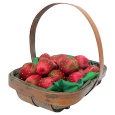 Thirty Silk Strawberries In Trug Made by Pupils Of The Royal School Of Needlework c1890