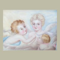 Miniature Framed Painting Of Angel & Cherubs c1880
