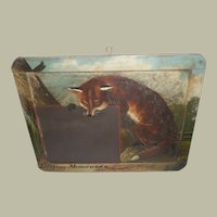 Charming Victorian Fox Painted On Slate c1890