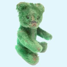Rare Green Schuco Teddy Bear Perfume Bottle c1930