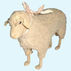 Rare Early Steiff Sheep Wool Plush & Felt Face