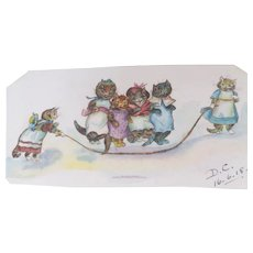 Well Painted Watercolour Sketch Of Humanised Cats Louis Wain c1918