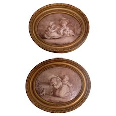 Hand Painted Porcelain Plaques Children & Pets After Bartolozzi Signed Dated 1890