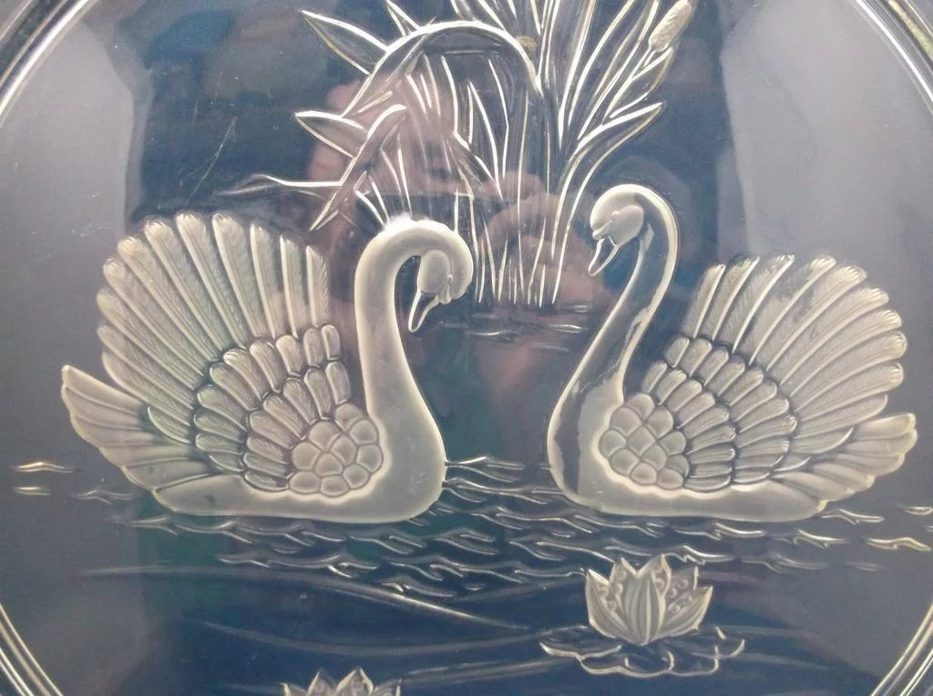 Mikasa Swan Swans Frosted Glass Cake Plate Walther Red Tag Sale Item Sold Ruby Lane