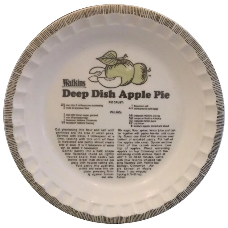 Watkins Deep Dish Apple Pie Plate Recipe Printed Royal China Green Apples  sc 1 st  Ruby Lane : deep dish pie plate - pezcame.com