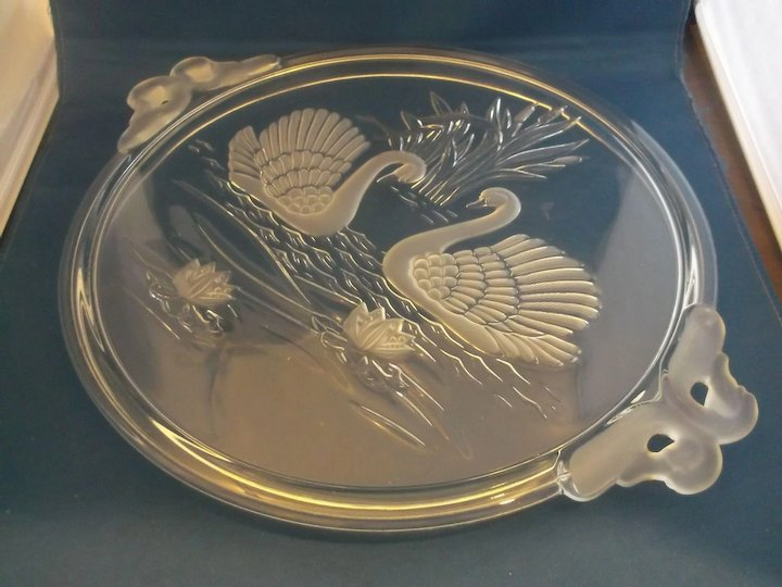 Mikasa Swan Swans Frosted Glass Cake Plate Walther Germany Crystal ...