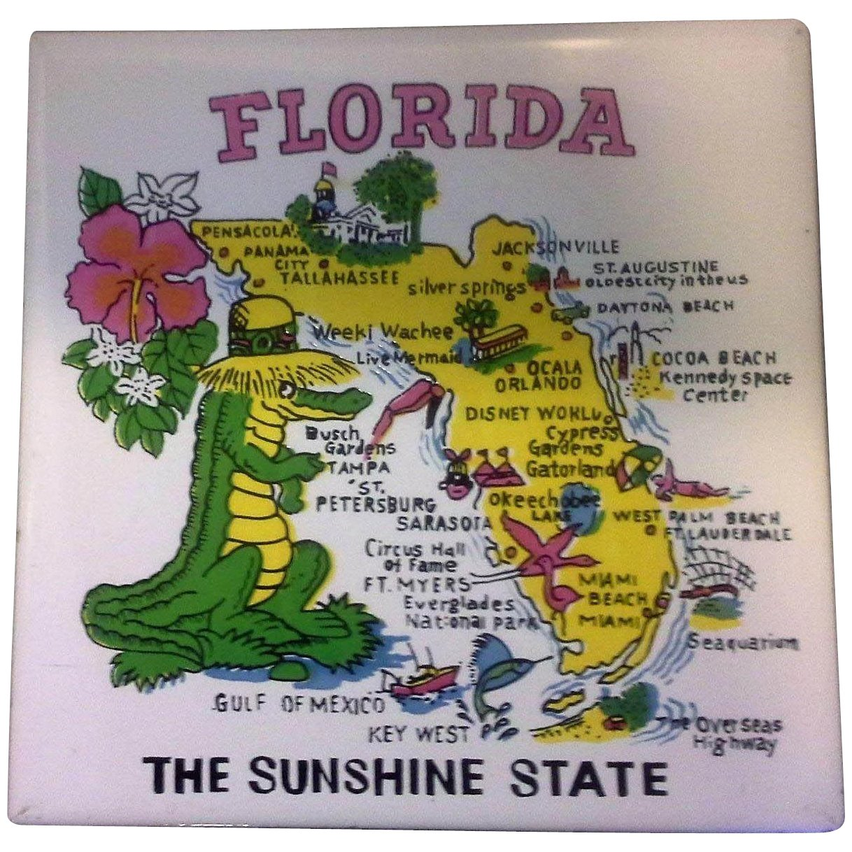Florida Map Souvenir Tile Trivet Ceramic Made In Philippines Sold
