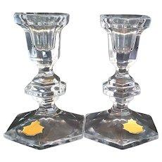 Beyer Bleikristall Lead Crystal Regency Candlesticks Candle Holders 5 1/4 IN - Red Tag Sale Item