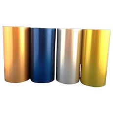 Perma Hues Spun Aluminum Tumblers Set of 4 Blue Copper Gold Silver
