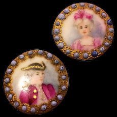 Victorian Hand Painted Buttons Lady Gentleman Portrait Miniatures - Red Tag Sale Item