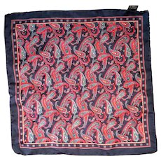 Navy Blue Red Paisley Silk Pocket Square Italy 12 IN