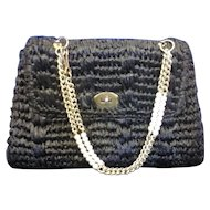 Gaymode Vintage Black Raffia Purse Handbag Chain Handle