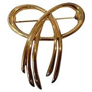 Crown Trifari Gold Tone Bow Pin Brooch