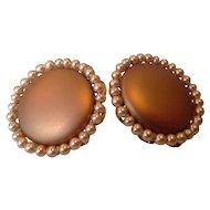 Copper Colored Faux Pearl Disc Clip Earrings Japan