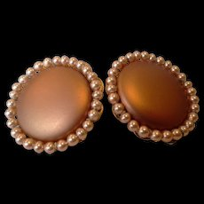 Copper Colored Faux Pearl Disc Clip Earrings Japan