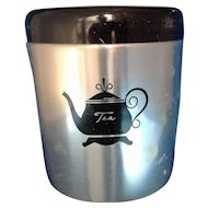 West Bend Aluminum Black Lid Tea Canister