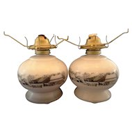 Currier Ives Milk Glass Black Scene Oil Lamps Pair
