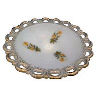 Yellow Rose Anchor Hocking Lace Edge Milk Glass Compote Gold Airbrushed Trim